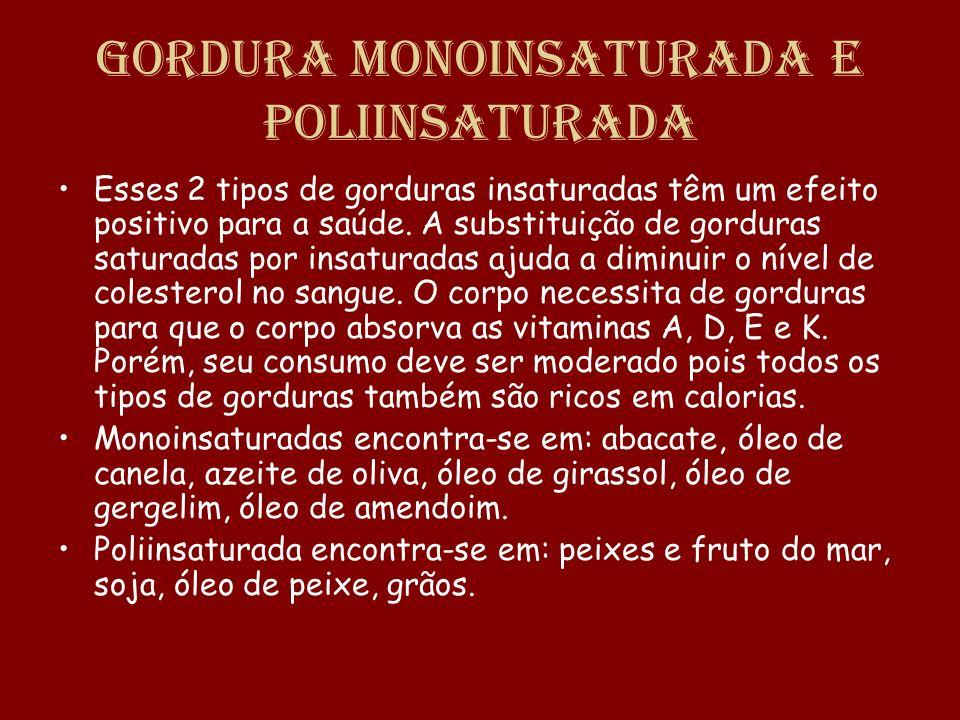 Gordura Monoinsaturada e Poliinsaturada