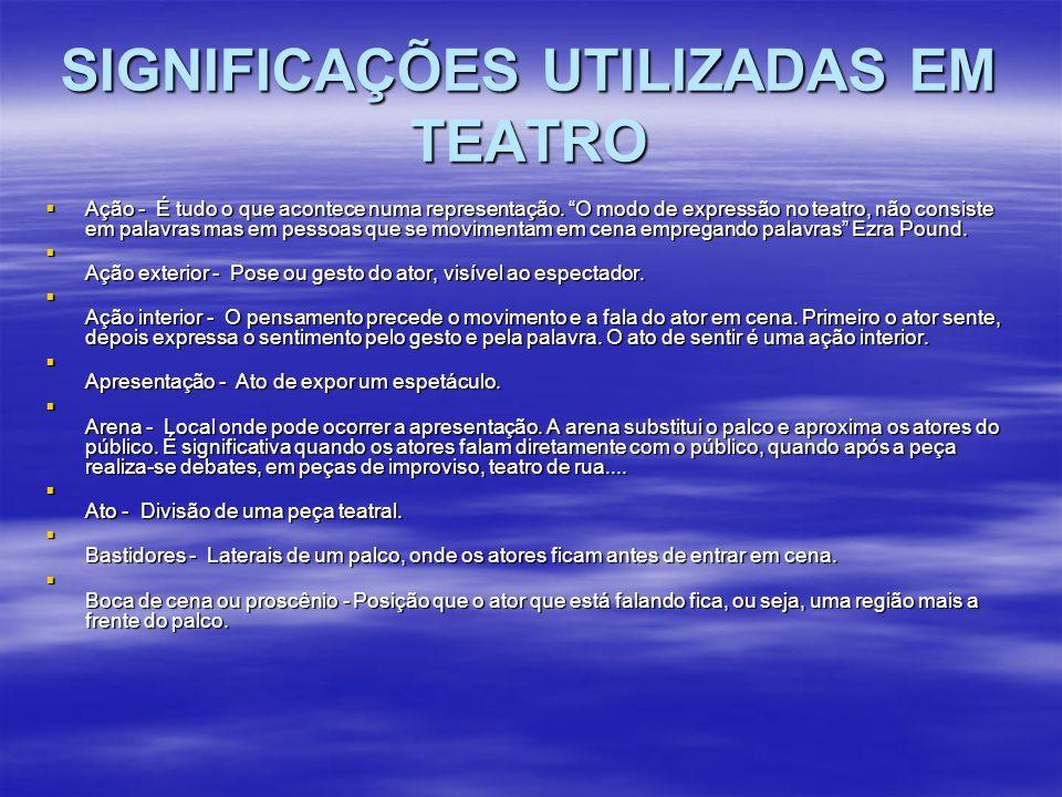 SIGNIFICAÇÕES UTILIZADAS EM TEATRO