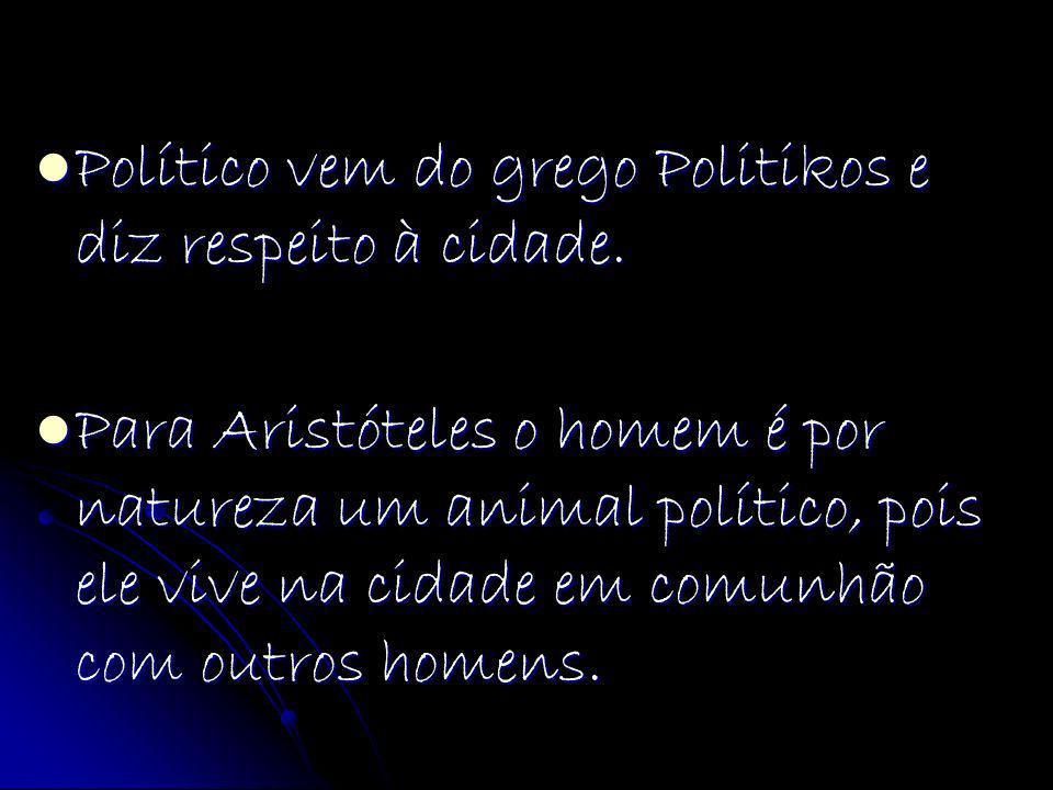 Político vem do grego Politikos e diz respeito à cidade.
