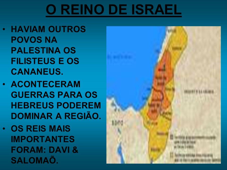 O REINO DE ISRAEL HAVIAM OUTROS POVOS NA PALESTINA OS FILISTEUS E OS CANANEUS. ACONTECERAM GUERRAS PARA OS HEBREUS PODEREM DOMINAR A REGIÃO.