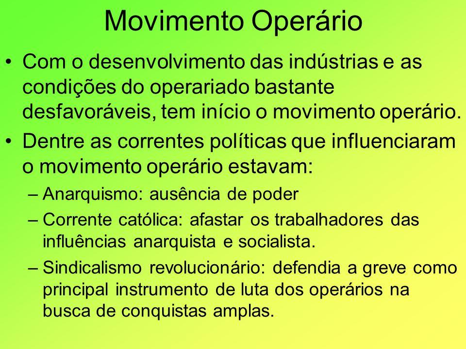 Movimento OperárioCom o desenvolvimento das indústrias e as condições do operariado bastante desfavoráveis, tem início o movimento operário.
