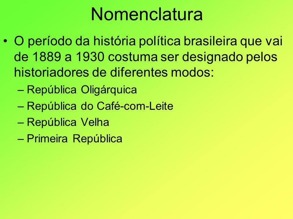 Nomenclatura O período da história política brasileira que vai de 1889 a 1930 costuma ser designado pelos historiadores de diferentes modos:
