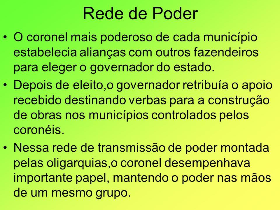 Rede de Poder O coronel mais poderoso de cada município estabelecia alianças com outros fazendeiros para eleger o governador do estado.