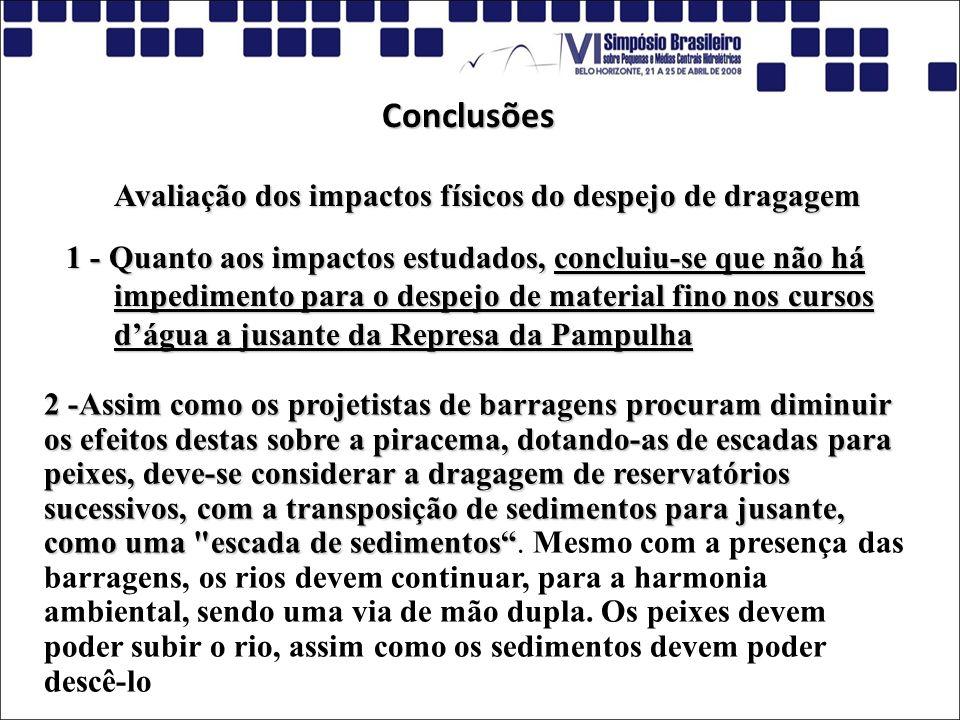 Conclusões Avaliação dos impactos físicos do despejo de dragagem