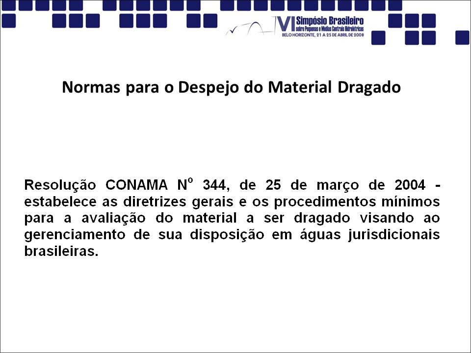 Normas para o Despejo do Material Dragado