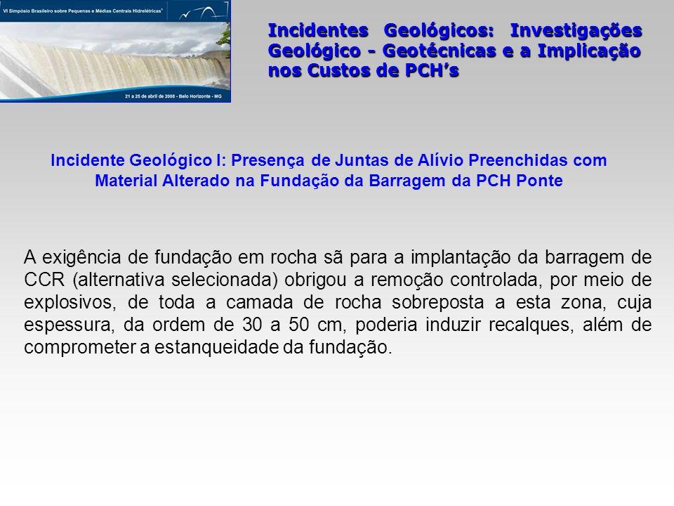 Incidente Geológico I: Presença de Juntas de Alívio Preenchidas com Material Alterado na Fundação da Barragem da PCH Ponte