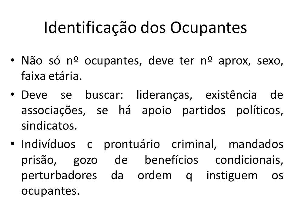 Identificação dos Ocupantes