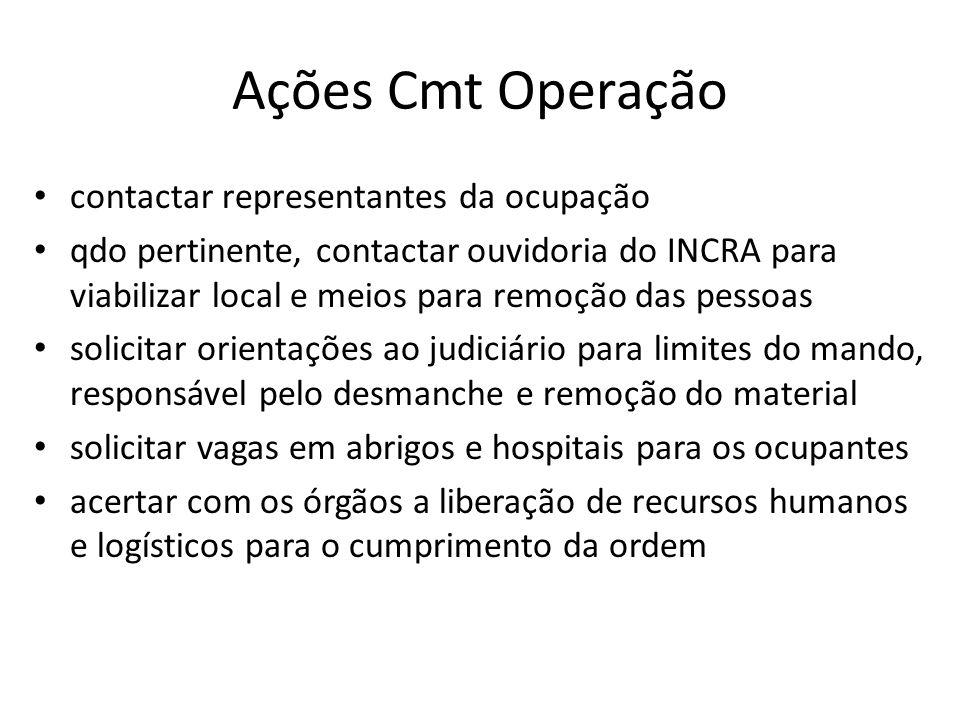 Ações Cmt Operação contactar representantes da ocupação