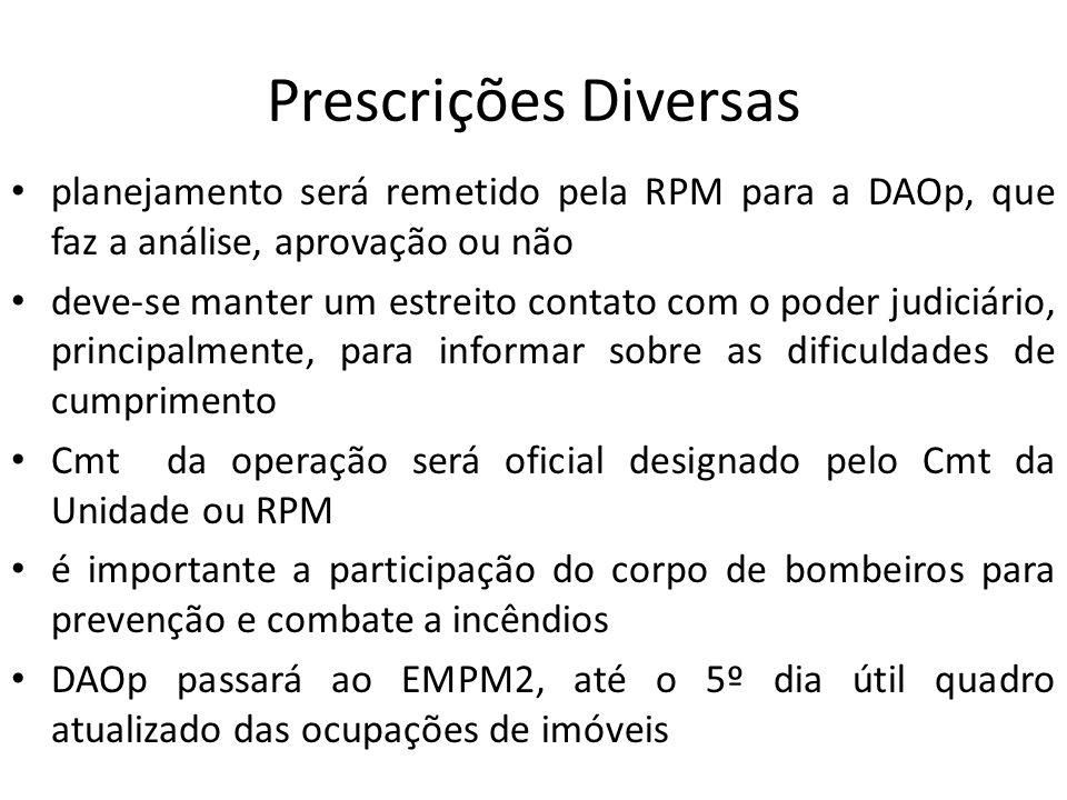 Prescrições Diversas planejamento será remetido pela RPM para a DAOp, que faz a análise, aprovação ou não.