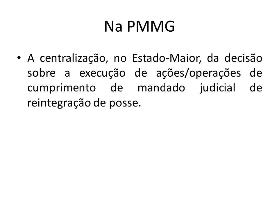 Na PMMG A centralização, no Estado-Maior, da decisão sobre a execução de ações/operações de cumprimento de mandado judicial de reintegração de posse.