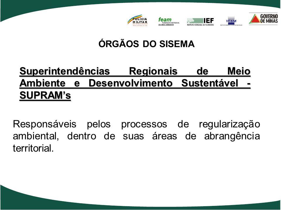 ÓRGÃOS DO SISEMASuperintendências Regionais de Meio Ambiente e Desenvolvimento Sustentável - SUPRAM's.