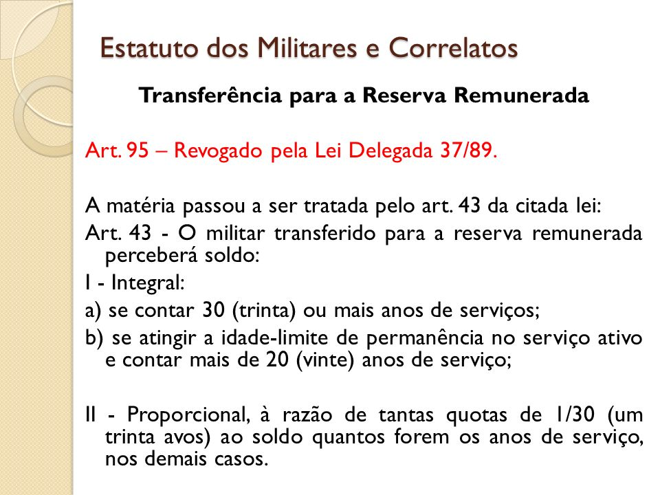 Estatuto dos Militares e Correlatos
