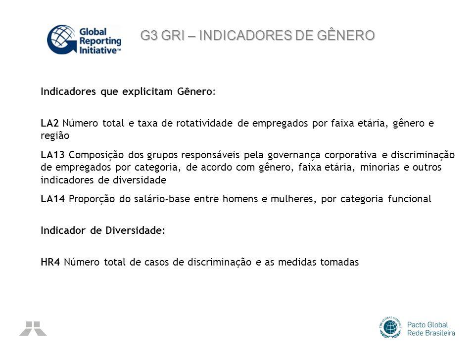 G3 GRI – INDICADORES DE GÊNERO
