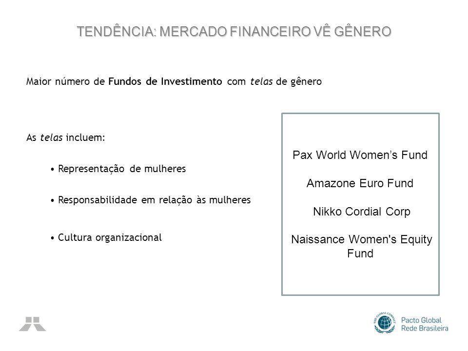 TENDÊNCIA: MERCADO FINANCEIRO VÊ GÊNERO