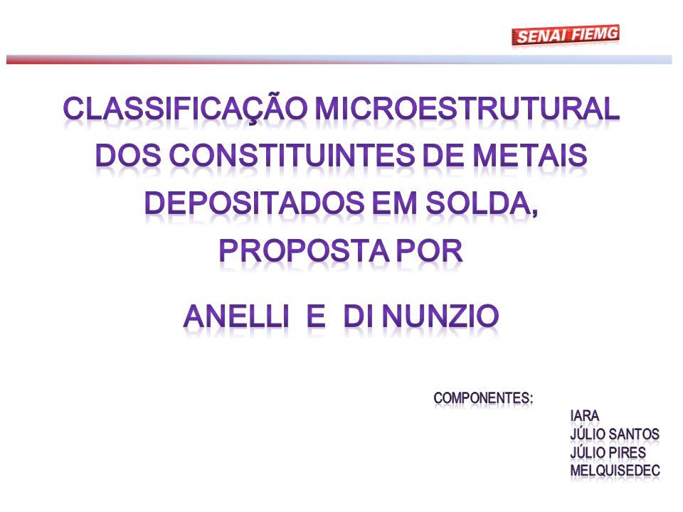 Classificação Microestrutural dos constituintes de metais depositados em solda, proposta por