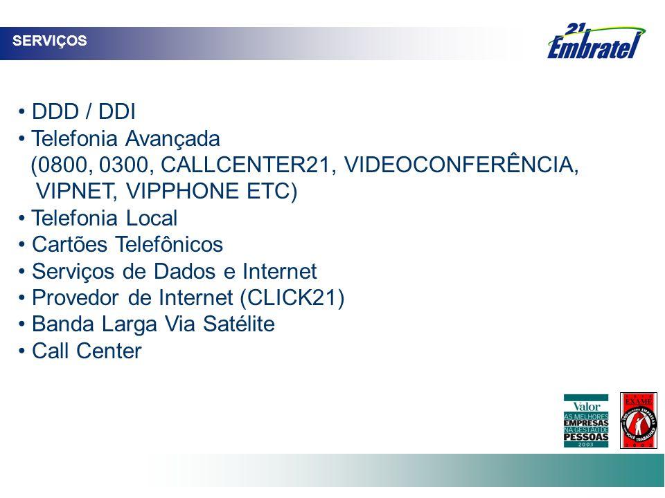 (0800, 0300, CALLCENTER21, VIDEOCONFERÊNCIA, VIPNET, VIPPHONE ETC)