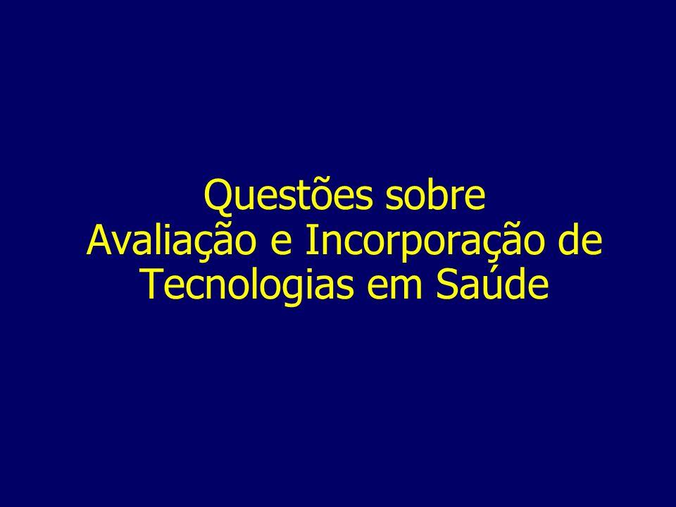 Questões sobre Avaliação e Incorporação de Tecnologias em Saúde