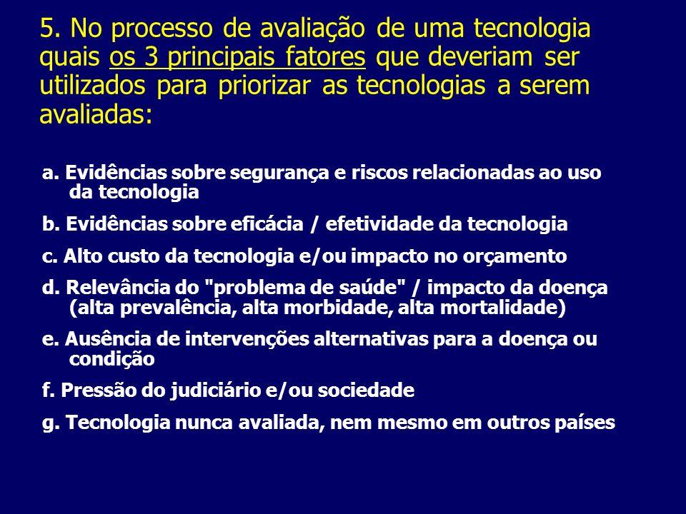 5. No processo de avaliação de uma tecnologia quais os 3 principais fatores que deveriam ser utilizados para priorizar as tecnologias a serem avaliadas: