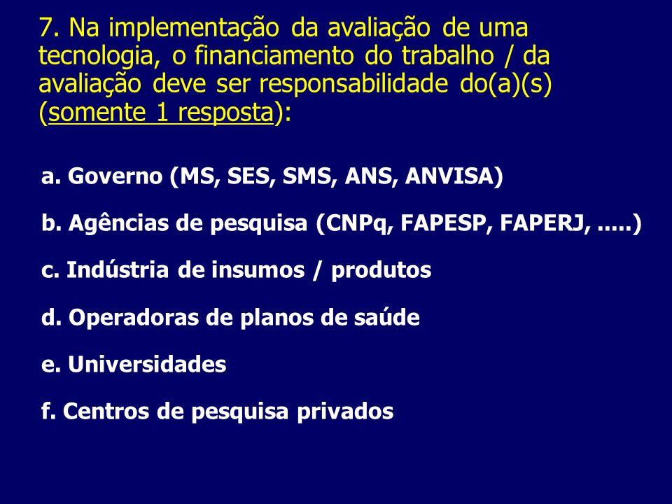 7. Na implementação da avaliação de uma tecnologia, o financiamento do trabalho / da avaliação deve ser responsabilidade do(a)(s) (somente 1 resposta):