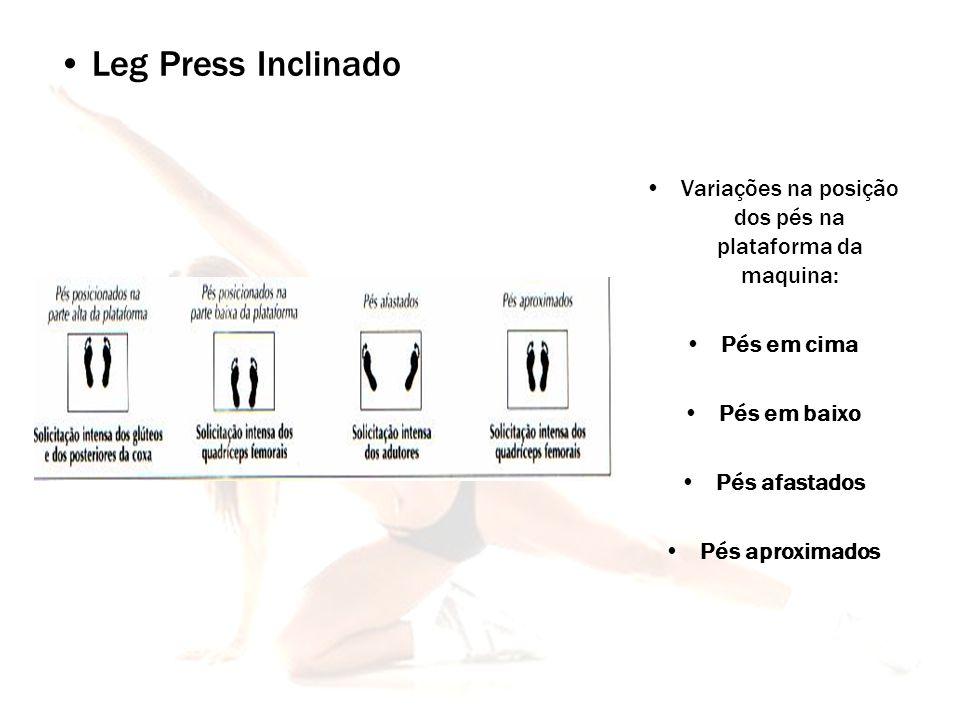Variações na posição dos pés na plataforma da maquina: