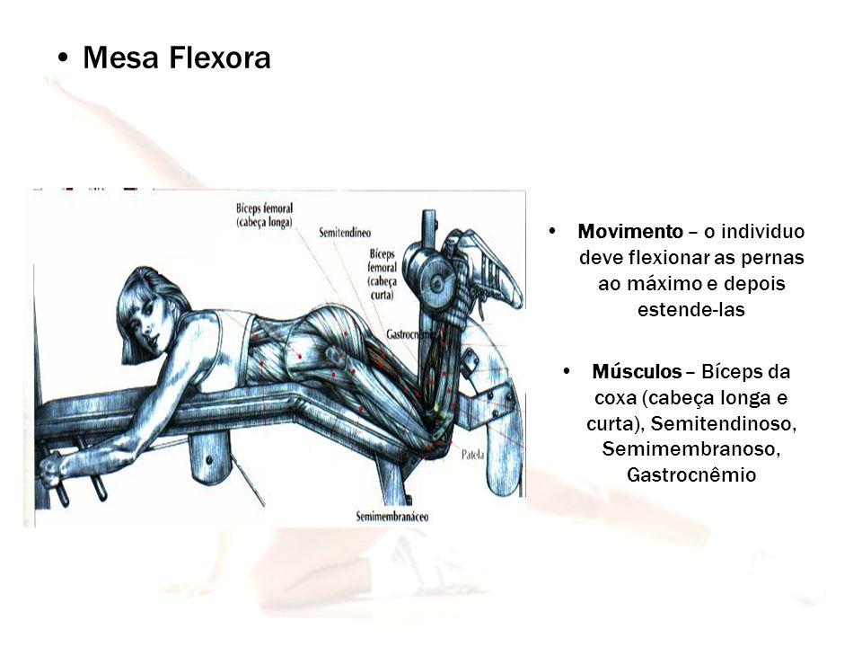 Mesa Flexora Movimento – o individuo deve flexionar as pernas ao máximo e depois estende-las.