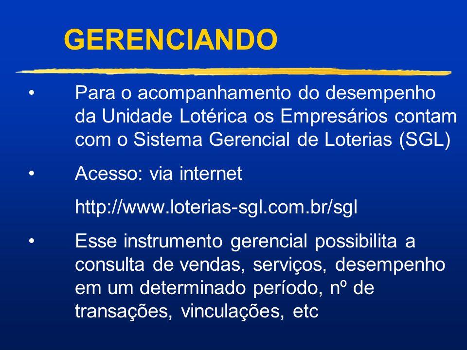 GERENCIANDO Para o acompanhamento do desempenho da Unidade Lotérica os Empresários contam com o Sistema Gerencial de Loterias (SGL)