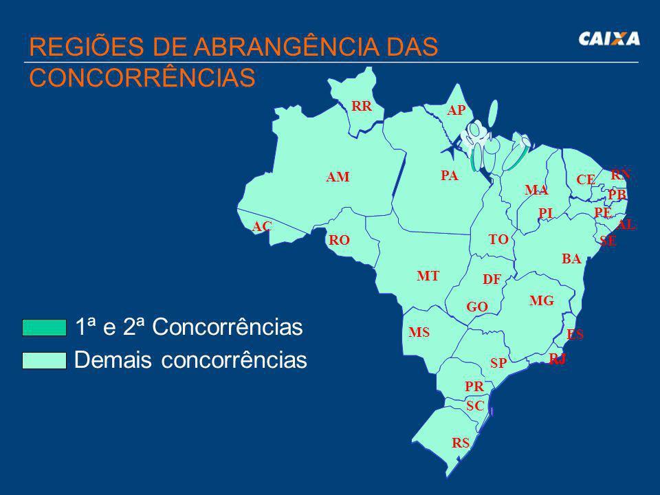 REGIÕES DE ABRANGÊNCIA DAS CONCORRÊNCIAS