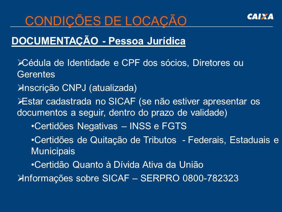 CONDIÇÕES DE LOCAÇÃO DOCUMENTAÇÃO - Pessoa Jurídica
