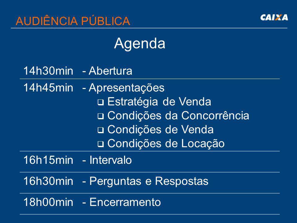 Agenda AUDIÊNCIA PÚBLICA 14h30min - Abertura 14h45min Apresentações
