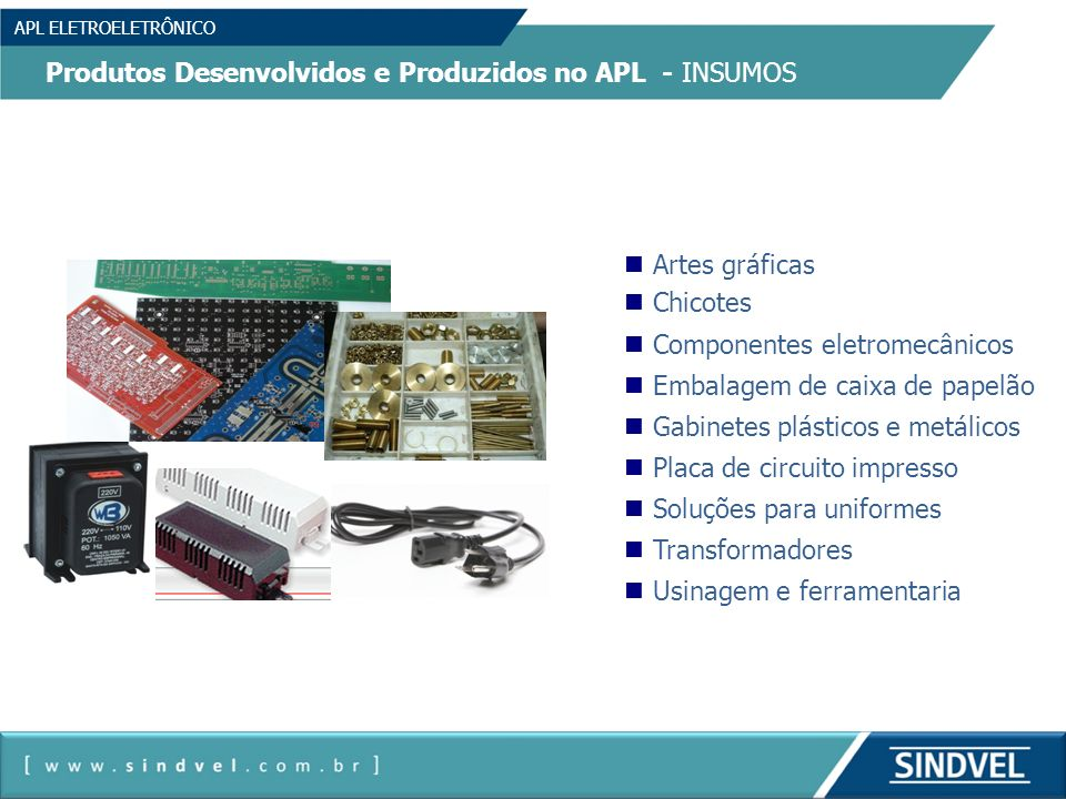 Produtos Desenvolvidos e Produzidos no APL - INSUMOS