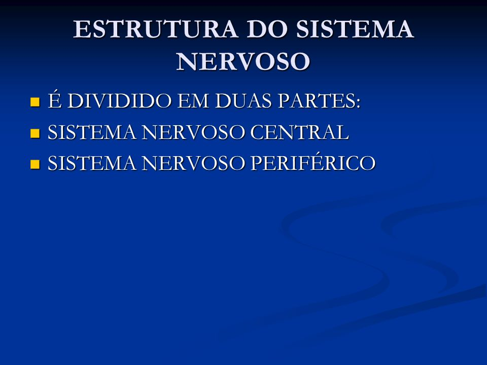 ESTRUTURA DO SISTEMA NERVOSO