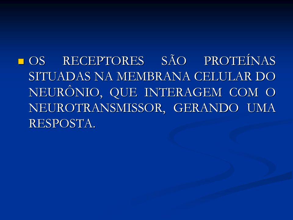 OS RECEPTORES SÃO PROTEÍNAS SITUADAS NA MEMBRANA CELULAR DO NEURÔNIO, QUE INTERAGEM COM O NEUROTRANSMISSOR, GERANDO UMA RESPOSTA.