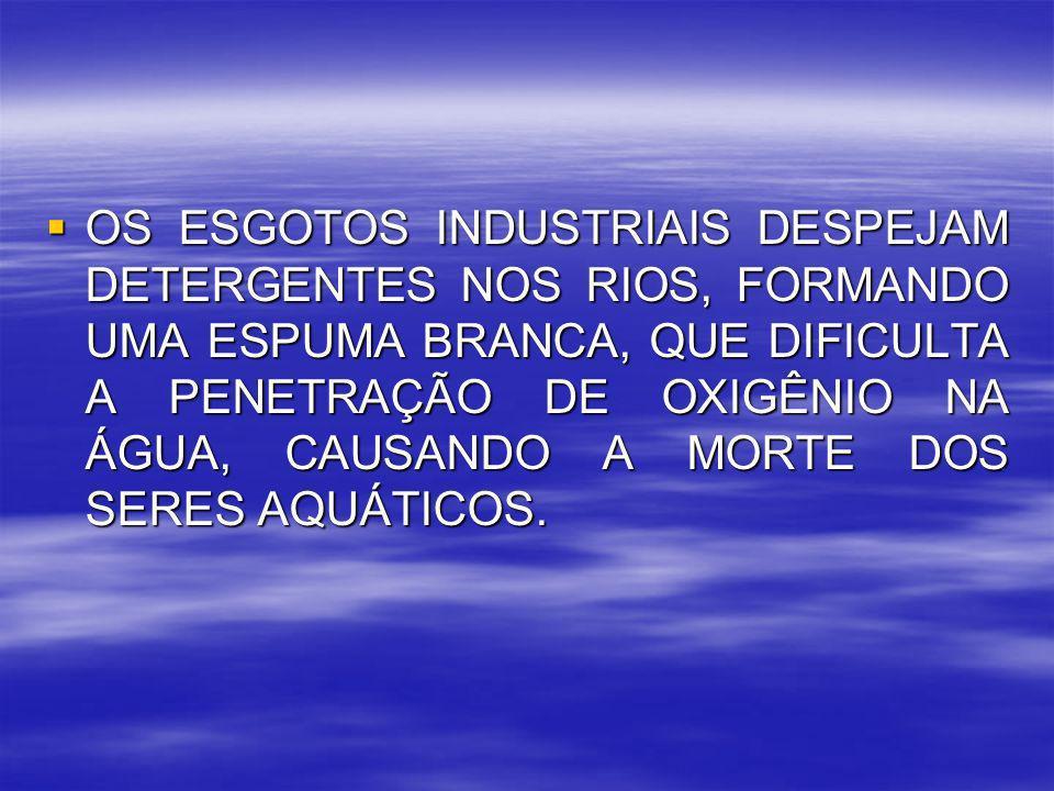 OS ESGOTOS INDUSTRIAIS DESPEJAM DETERGENTES NOS RIOS, FORMANDO UMA ESPUMA BRANCA, QUE DIFICULTA A PENETRAÇÃO DE OXIGÊNIO NA ÁGUA, CAUSANDO A MORTE DOS SERES AQUÁTICOS.