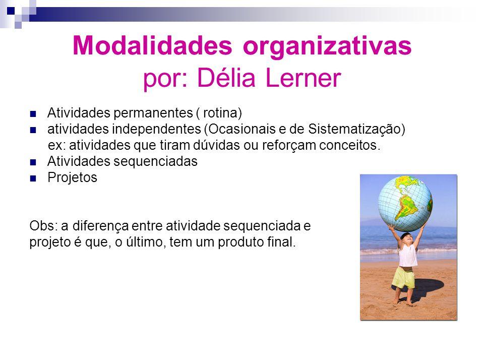 Modalidades organizativas por: Délia Lerner