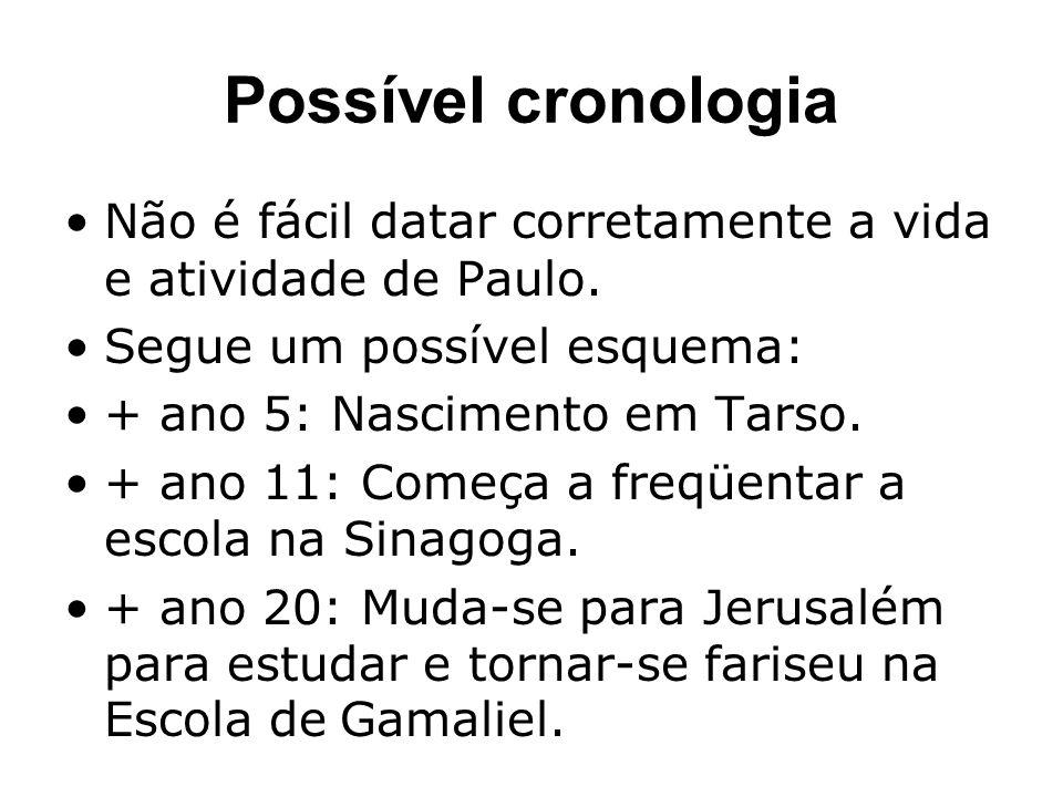 Possível cronologia Não é fácil datar corretamente a vida e atividade de Paulo. Segue um possível esquema: