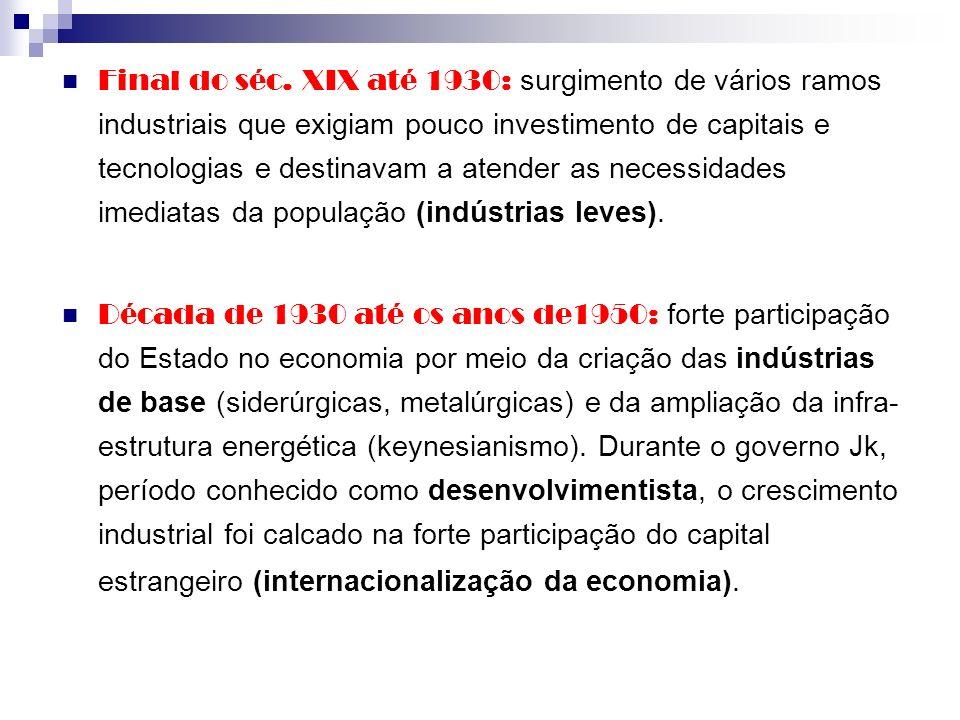 Final do séc. XIX até 1930: surgimento de vários ramos industriais que exigiam pouco investimento de capitais e tecnologias e destinavam a atender as necessidades imediatas da população (indústrias leves).