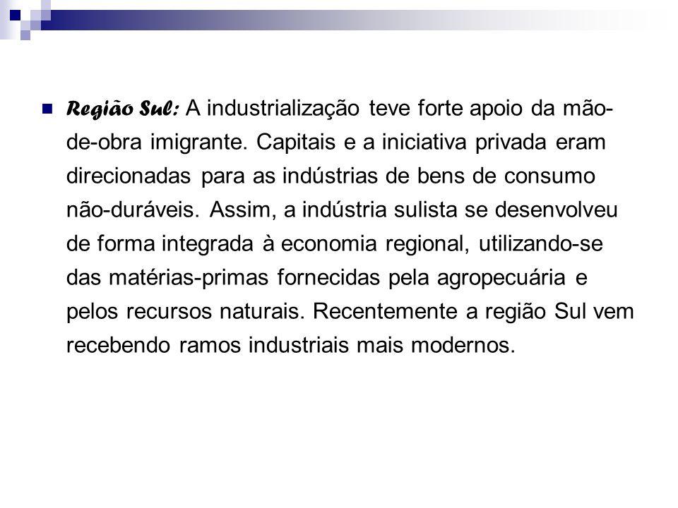 Região Sul: A industrialização teve forte apoio da mão-de-obra imigrante.