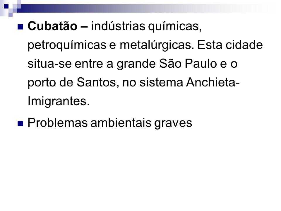 Cubatão – indústrias químicas, petroquímicas e metalúrgicas
