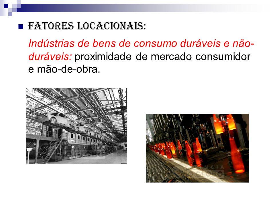Fatores locacionais: Indústrias de bens de consumo duráveis e não-duráveis: proximidade de mercado consumidor e mão-de-obra.