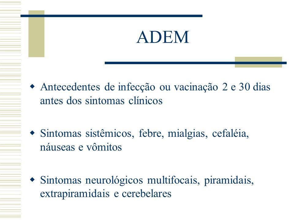 ADEM Antecedentes de infecção ou vacinação 2 e 30 dias antes dos sintomas clínicos.