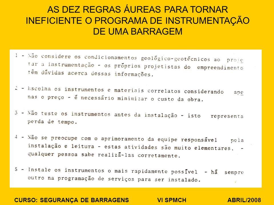AS DEZ REGRAS ÁUREAS PARA TORNAR INEFICIENTE O PROGRAMA DE INSTRUMENTAÇÃO DE UMA BARRAGEM