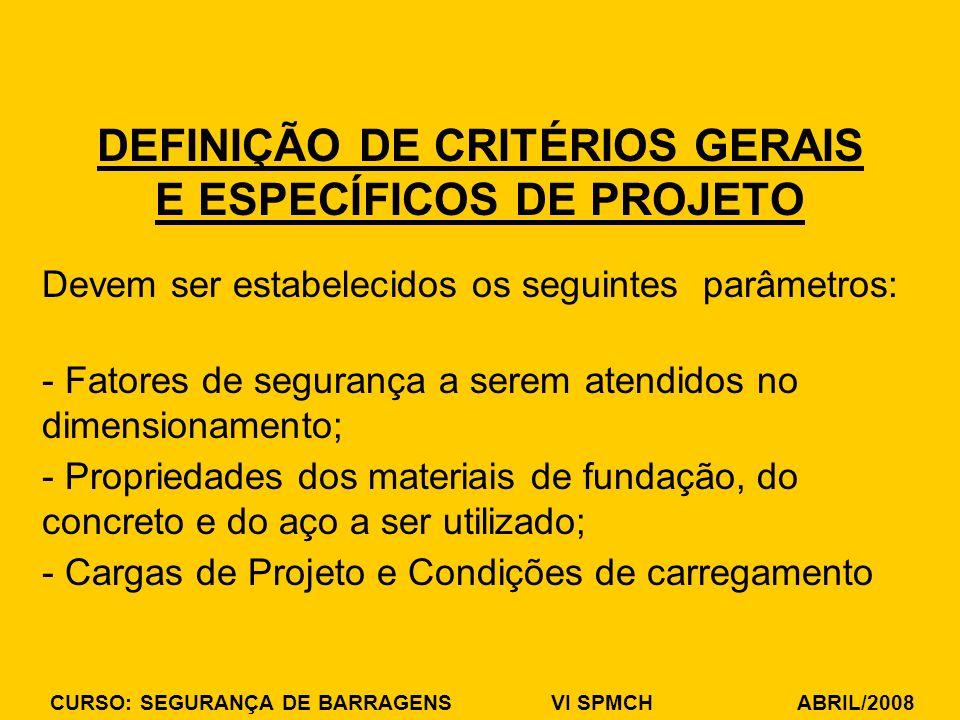 DEFINIÇÃO DE CRITÉRIOS GERAIS E ESPECÍFICOS DE PROJETO