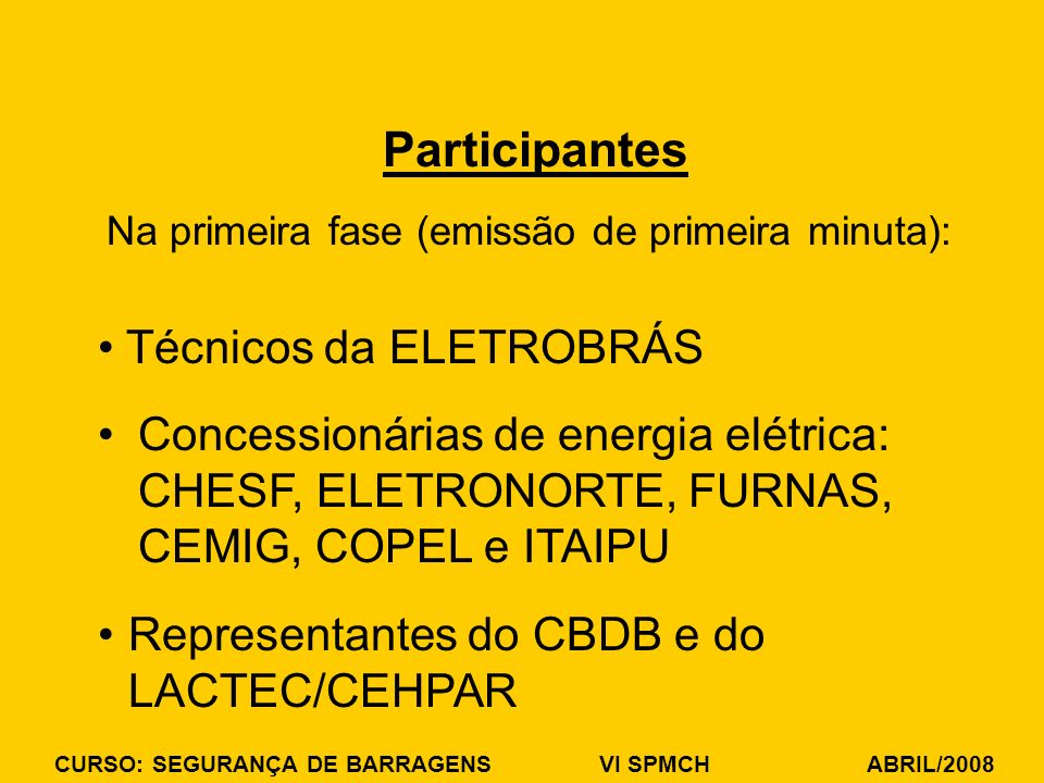 Participantes Técnicos da ELETROBRÁS