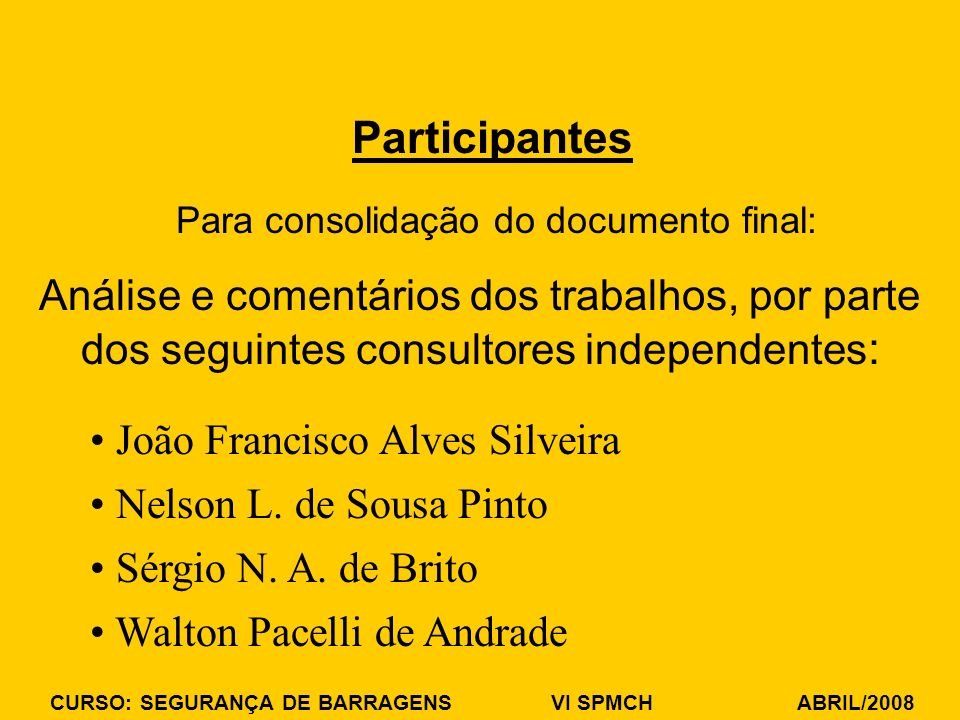 Para consolidação do documento final: