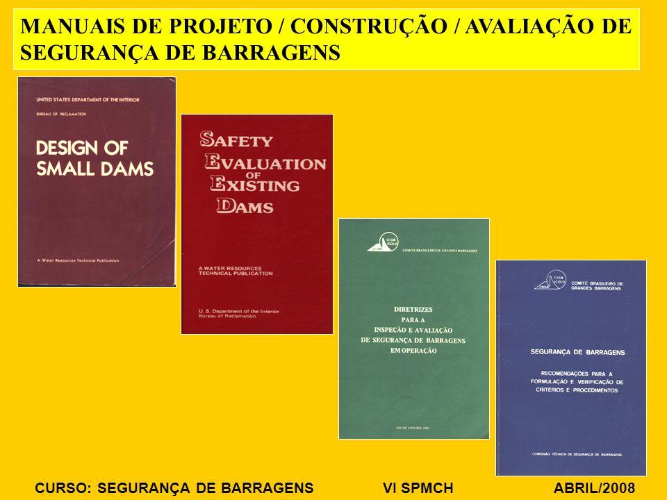 MANUAIS DE PROJETO / CONSTRUÇÃO / AVALIAÇÃO DE SEGURANÇA DE BARRAGENS
