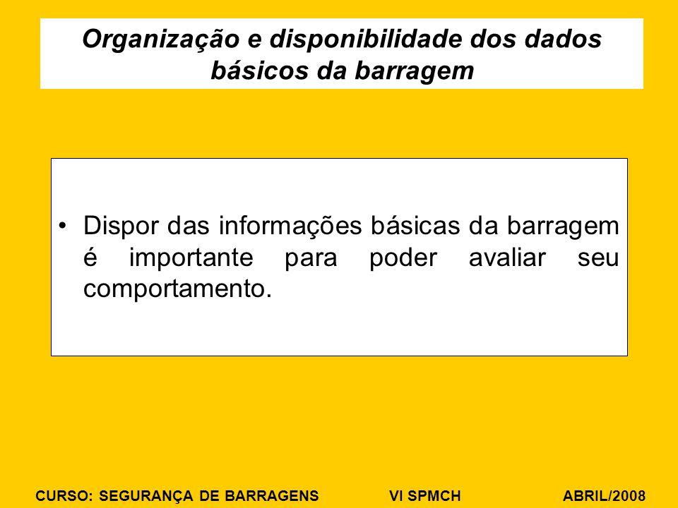 Organização e disponibilidade dos dados básicos da barragem