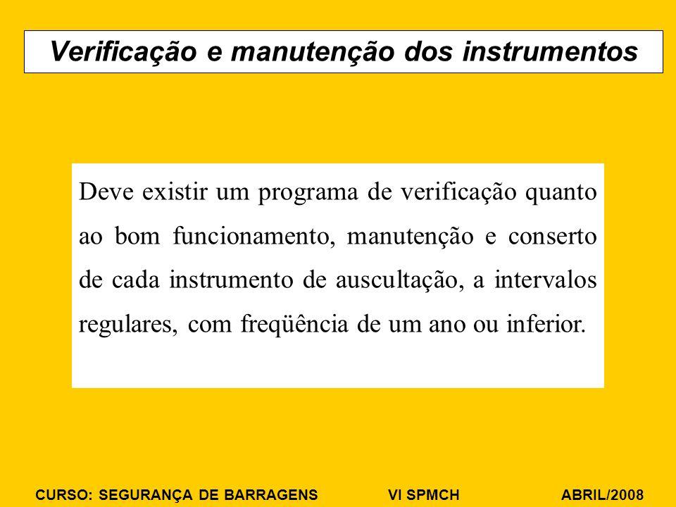 Verificação e manutenção dos instrumentos