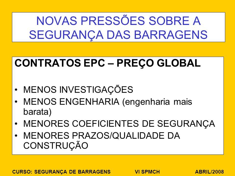 NOVAS PRESSÕES SOBRE A SEGURANÇA DAS BARRAGENS