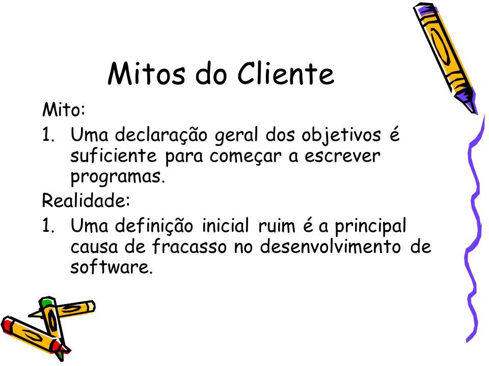 Mitos do Cliente Mito: Uma declaração geral dos objetivos é suficiente para começar a escrever programas.