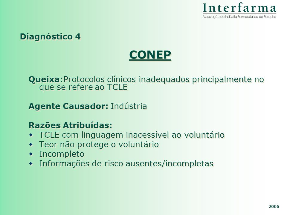 Diagnóstico 4 CONEP. Queixa:Protocolos clínicos inadequados principalmente no que se refere ao TCLE.